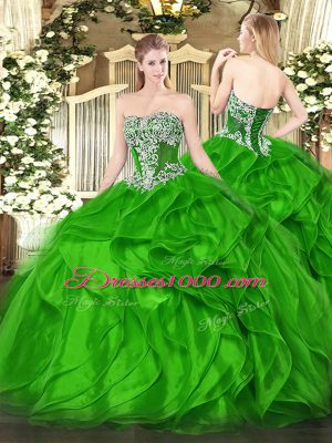 Ideal Ball Gowns Strapless Sleeveless Organza Floor Length Lace Up Beading and Ruffles Quinceanera Gowns