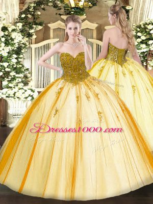 Gold Ball Gowns Sweetheart Sleeveless Tulle Floor Length Lace Up Beading Sweet 16 Quinceanera Dress