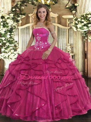 Great Hot Pink Strapless Zipper Beading and Ruffles Quinceanera Dress Sleeveless