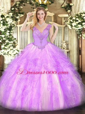 Cute Sleeveless Organza Floor Length Lace Up Quinceanera Dresses in Lilac with Beading and Ruffles