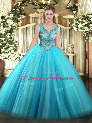 Scoop Sleeveless Tulle Ball Gown Prom Dress Beading Lace Up