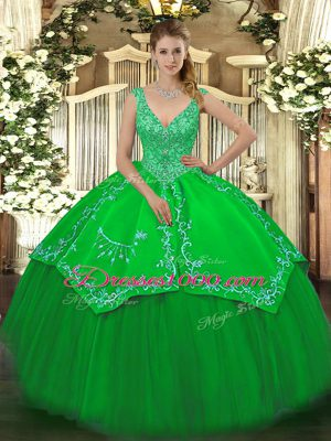 Classical Green Sleeveless Taffeta and Tulle Zipper Quinceanera Gowns for Military Ball and Sweet 16 and Quinceanera