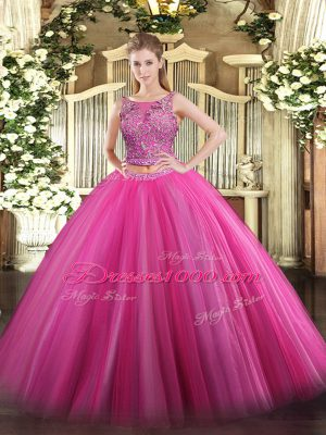 Simple Hot Pink Sleeveless Tulle Lace Up 15th Birthday Dress for Military Ball and Sweet 16 and Quinceanera