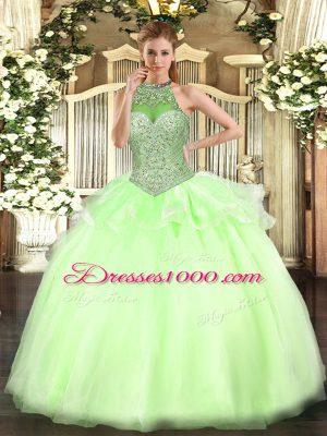Halter Top Sleeveless Sweet 16 Dress Floor Length Beading Yellow Green Tulle