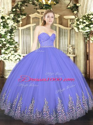 New Style Sweetheart Sleeveless Quinceanera Dresses Floor Length Beading and Lace and Appliques Lavender Tulle