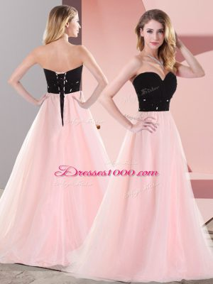 Fashionable Sweetheart Sleeveless Prom Party Dress Floor Length Belt Pink And Black Tulle