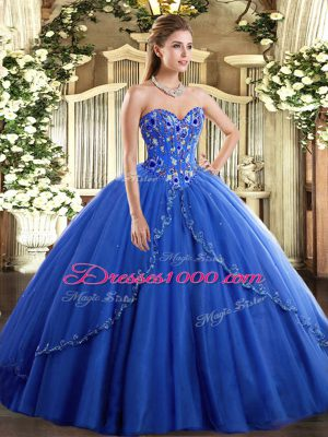 Modest Lace Up Ball Gown Prom Dress Blue for Military Ball and Sweet 16 and Quinceanera with Appliques and Embroidery Brush Train
