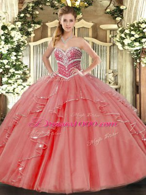 Pretty Floor Length Coral Red Vestidos de Quinceanera Tulle Sleeveless Beading and Ruffles