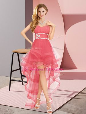Glorious Coral Red Sleeveless High Low Beading Lace Up Casual Dresses
