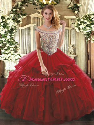 Fantastic Beading and Ruffles 15th Birthday Dress Wine Red Lace Up Sleeveless Floor Length