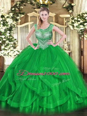 Green Sleeveless Floor Length Beading and Ruffles Lace Up Quinceanera Gowns