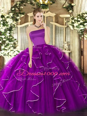 Deluxe Purple Ball Gowns Ruffles 15 Quinceanera Dress Zipper Tulle Sleeveless Floor Length