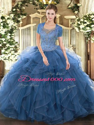 Sleeveless Floor Length Beading and Ruffled Layers Clasp Handle Quinceanera Dress with Teal