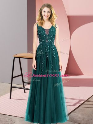 Vintage Floor Length Empire Sleeveless Turquoise Dress for Prom Backless