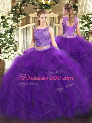 Suitable Floor Length Purple Sweet 16 Quinceanera Dress Tulle Sleeveless Beading and Ruffles