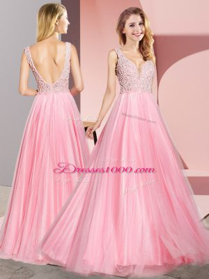 Lace Homecoming Dress Watermelon Red Zipper Sleeveless Floor Length