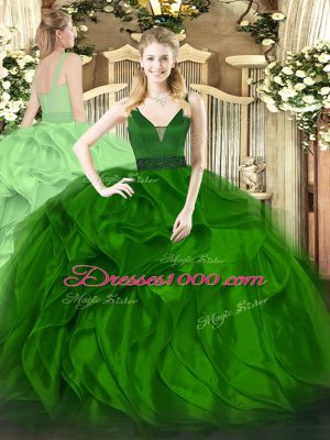 Green Ball Gowns Straps Sleeveless Organza Floor Length Zipper Beading and Ruffles Sweet 16 Dress