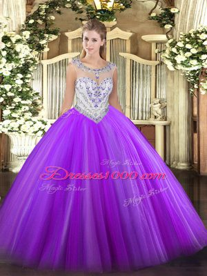 Custom Made Beading Quinceanera Gown Eggplant Purple Zipper Sleeveless Floor Length