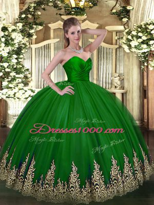 Green Sleeveless Tulle Zipper Quinceanera Gowns for Military Ball and Sweet 16 and Quinceanera