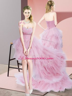 High End Baby Pink A-line Sweetheart Sleeveless Tulle High Low Lace Up Beading Prom Dress