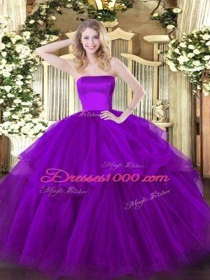 Purple Strapless Neckline Ruffled Layers 15th Birthday Dress Sleeveless Zipper