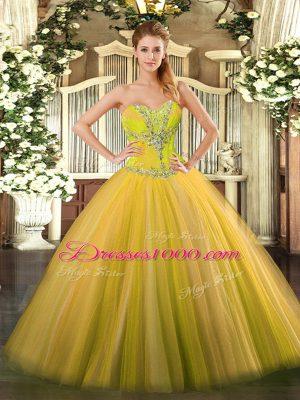 Gold Sweetheart Neckline Beading Sweet 16 Dress Sleeveless Lace Up