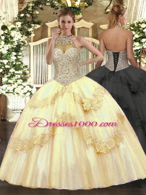Floor Length Gold Sweet 16 Quinceanera Dress Halter Top Sleeveless Lace Up