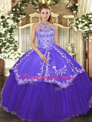 Exceptional Purple Ball Gowns Beading and Embroidery Sweet 16 Dress Lace Up Satin and Tulle Sleeveless Floor Length