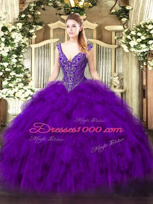 Modern Purple Lace Up V-neck Beading and Ruffles Quinceanera Dresses Organza Sleeveless