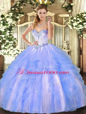 Blue And White Tulle Lace Up 15 Quinceanera Dress Sleeveless Floor Length Beading and Ruffles
