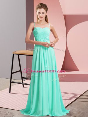 Excellent Sleeveless Ruching Backless Party Dress with Turquoise Sweep Train