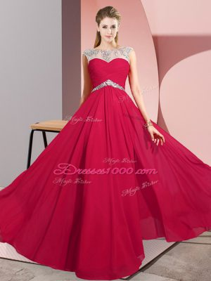 Simple Red Clasp Handle Party Dress for Girls Beading Sleeveless Floor Length