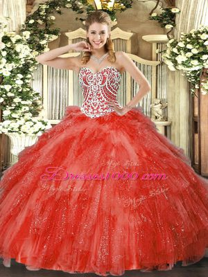 Sleeveless Tulle Floor Length Side Zipper Quinceanera Gowns in Coral Red with Beading and Ruffles