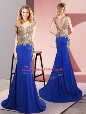 Modern Royal Blue Mermaid Elastic Woven Satin Scoop Sleeveless Beading Side Zipper Teens Party Dress Sweep Train