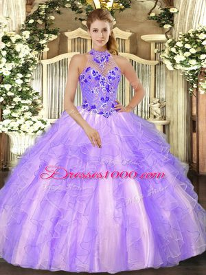 Admirable Sleeveless Floor Length Beading and Ruffles Lace Up Sweet 16 Quinceanera Dress with Lavender