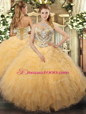 Glamorous Tulle Sleeveless Floor Length Sweet 16 Dresses and Beading and Ruffles