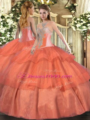 Coral Red Ball Gowns Sweetheart Sleeveless Tulle Floor Length Lace Up Beading and Ruffled Layers Quinceanera Gown