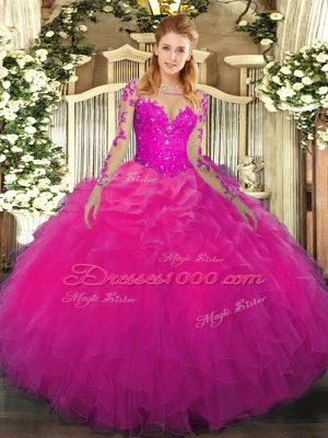 Shining Long Sleeves Floor Length Lace and Ruffles Lace Up Vestidos de Quinceanera with Fuchsia