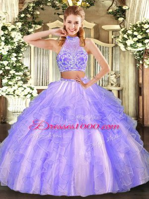 Customized Two Pieces Vestidos de Quinceanera Lavender Halter Top Tulle Sleeveless Floor Length Criss Cross