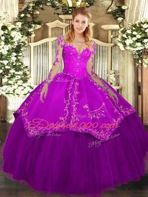 Amazing Scoop Long Sleeves Vestidos de Quinceanera Floor Length Lace and Embroidery Purple Organza and Taffeta