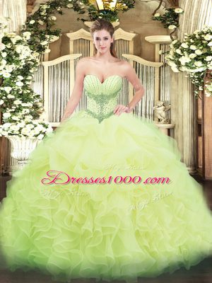Yellow Green Ball Gowns Sweetheart Sleeveless Organza Floor Length Lace Up Beading and Ruffles and Pick Ups Vestidos de Quinceanera