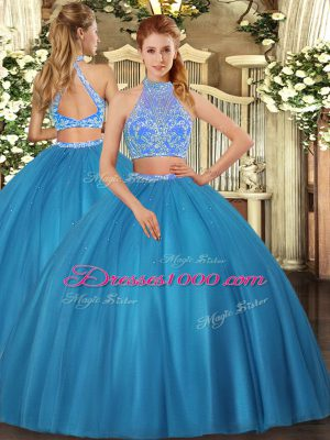 Deluxe Teal Sweet 16 Dresses Military Ball and Sweet 16 and Quinceanera with Beading Halter Top Sleeveless Criss Cross