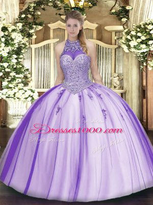 Most Popular Tulle Halter Top Sleeveless Lace Up Beading and Appliques Quinceanera Gowns in Lavender