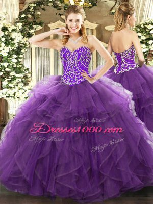Perfect Floor Length Eggplant Purple 15 Quinceanera Dress Sweetheart Sleeveless Lace Up