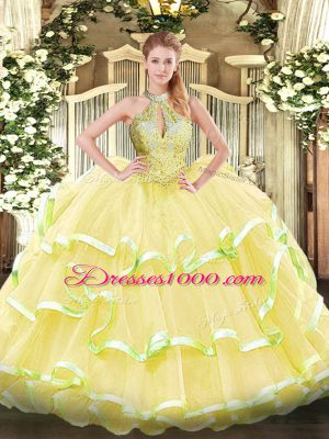 New Style Halter Top Sleeveless Quinceanera Dress Floor Length Beading and Ruffled Layers Yellow Organza