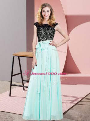 Sleeveless Floor Length Lace Lace Up Party Dress for Toddlers with Aqua Blue