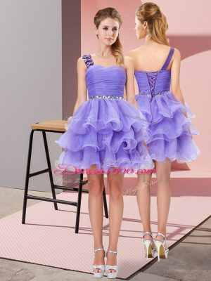 Glorious Lavender Homecoming Dress Prom and Party with Beading and Ruffled Layers One Shoulder Sleeveless Lace Up