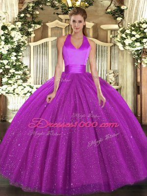 Sleeveless Sequins Lace Up Ball Gown Prom Dress