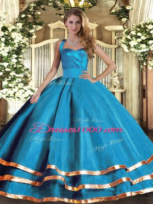 Elegant Baby Blue Halter Top Lace Up Ruffled Layers 15th Birthday Dress Sleeveless