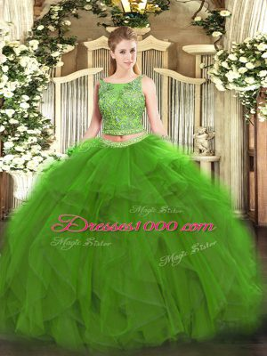 Cute Green Lace Up Ball Gown Prom Dress Beading and Ruffles Sleeveless Floor Length